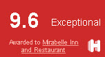 Rated 9.6 Exceptional Awarded to Mirabelle Inn and Restaurant